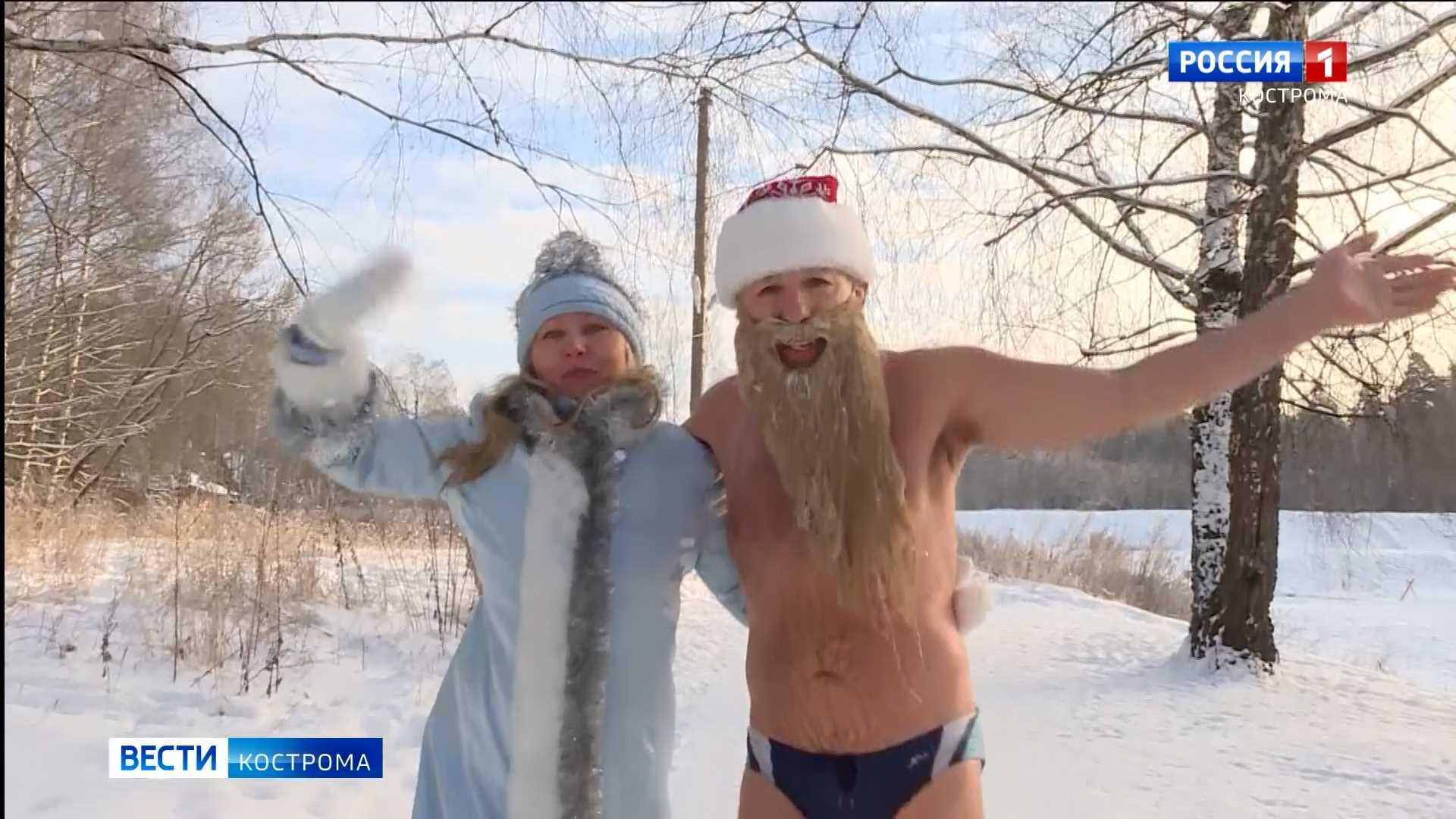 Костромской морж отметил свое 60-летие купанием в проруби