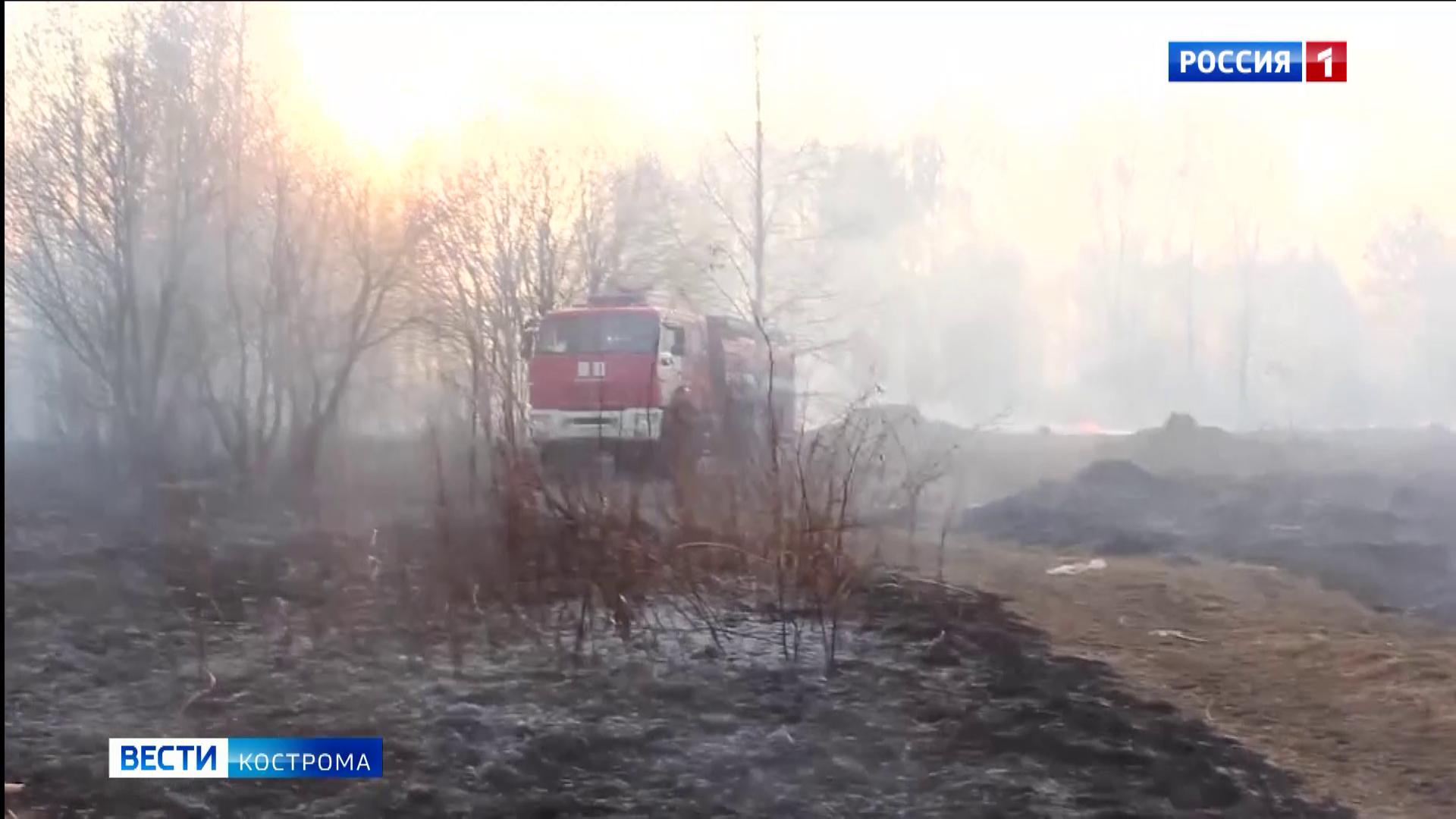 В Костромской области начали гореть подсохшие пустыри